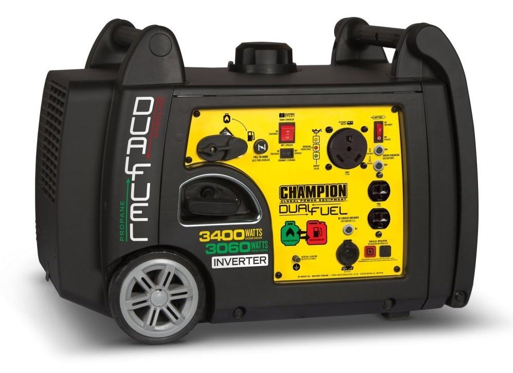 Champion 3400 Watt Propane + Gasoline Inverter Generator